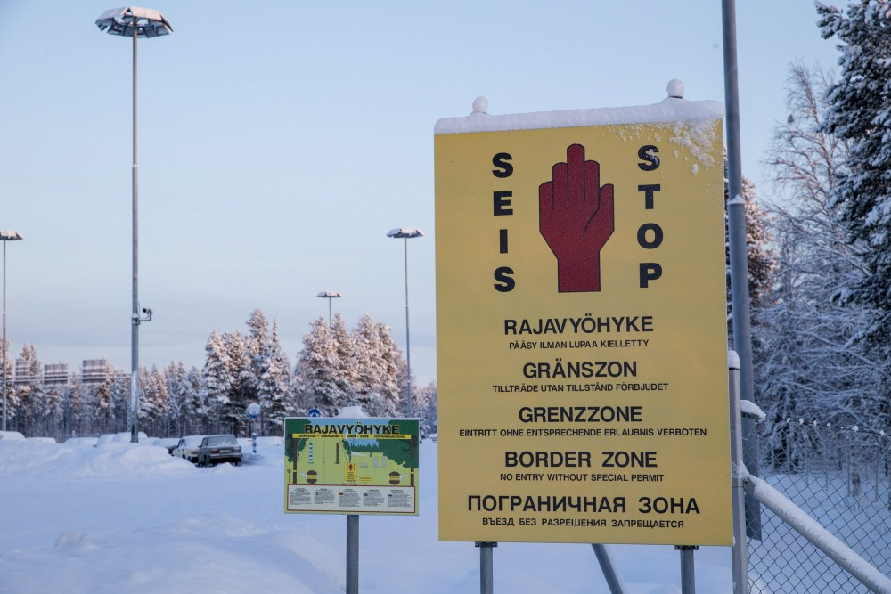 In this picture taken January 20, 2016, border zone signs are seen at the Finnish-Russian border in Salla, northern Finland. Kaisa Siren/Lehtikuva via AP