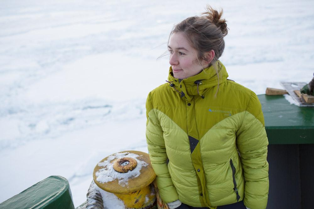Greenpeace's Larissa Beumer on board the Arctic Sunrise in the Spitsbergen archipelago. Nick Cobbing/Greenpeace