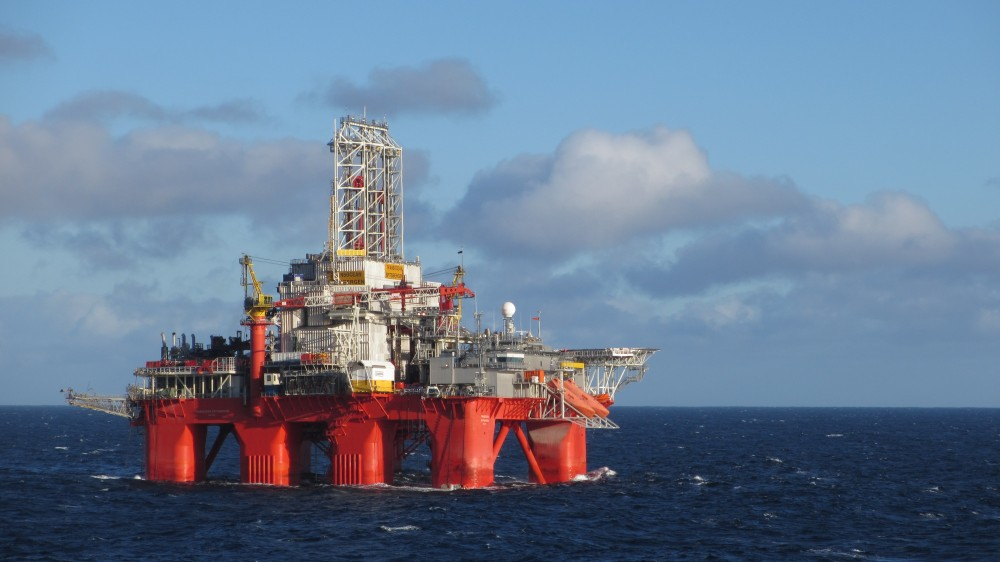 Transocean Spitsbergen deep water drilling rig in the Barents Sea. Photo courtesy of OMV