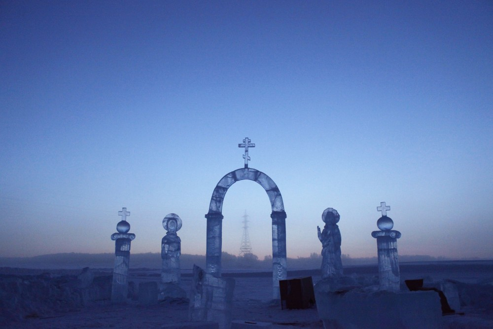 A view shows ice sculptures on the Lena river, constructed for the celebration of Orthodox Epiphany outside Yakutsk in the Republic of Sakha, northeast Russia, January 17, 2013. Maxim Shemetov/REUTERS