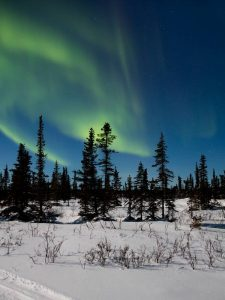Northern lights over Tsá Tué, courtesy of UNESCO