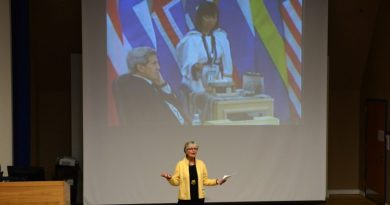 In this April 24, 2015 file photo, Fran Ulmer, chair of the U.S. Arctic Research Commission, welcomes viewers to a live-stream showing of the Arctic Council meeting in Iqaluit, Nunavut, Canada in which council leadership is passed from Canada to the U.S. Halfway through the two-year U.S. chairmanship, what's been accomplished? (Erik Hill / Alaska Dispatch News)