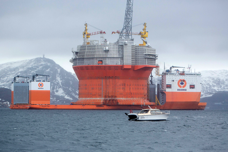 Eni's Sevan 1000 floating unit being prepared for drilling in the world's northernmost oil field, offshore Norway. Photo: Eni.