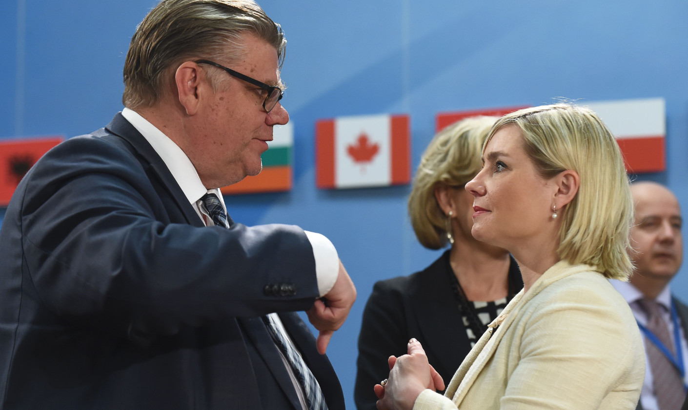 It's important to keep lines of communication open with Russia despite sanctions, said Iceland's foreign minister Lilja Alfredsdottir (right), pictured above with Finnish foreign minister Timo Soini during a foreign ministers meeting at the NATO headquarters in Brussels on May 20, 2016. (John Thys/AFP/Getty Images)