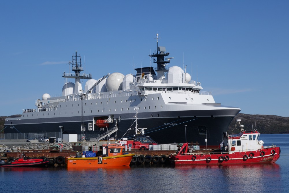 """The new """"Marjata"""" at port in Kirkenes. (Atle Staalesen/The Independent Barents Observer)"""