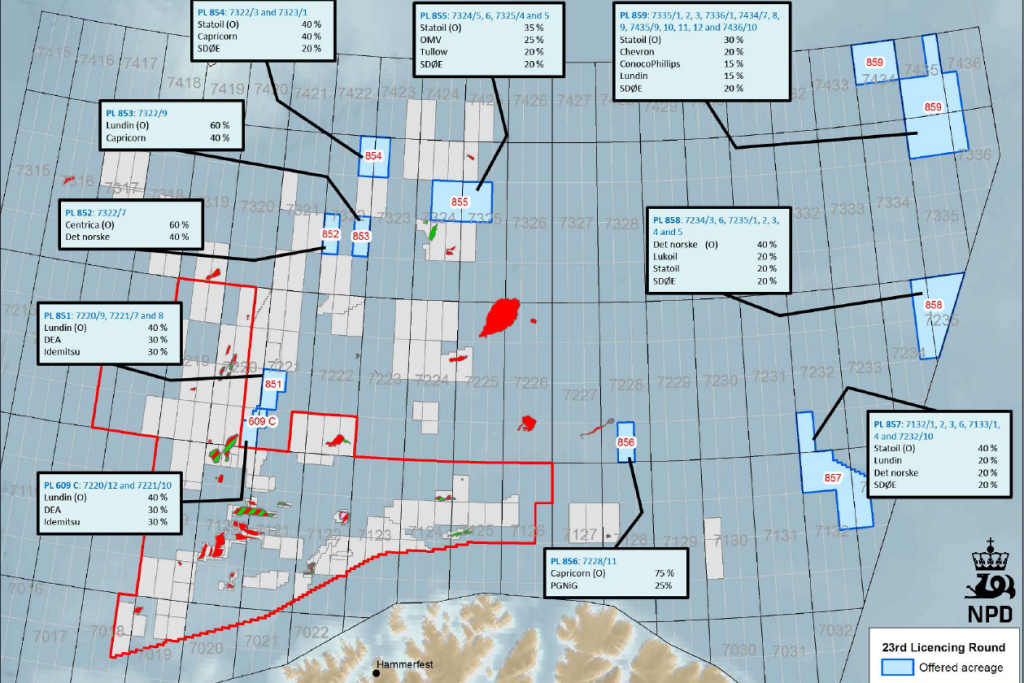 The license PL858 is located directly along the border with Russia and will be operated by Norwegian company Det Norske (40%) along with Lukoil (20%), Statoil (20%) and SDØE (20%). (Norwegian Petroleum Directorate)