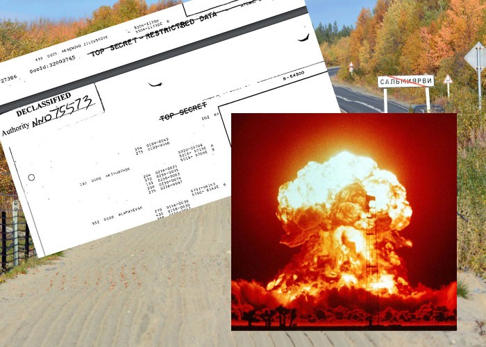 Photomontage. Background photo of Salmijervi (Thomas Nilsen/The Independent Barents Observer); Nuke detonation. (Courtesy of National Nuclear Security Administration)