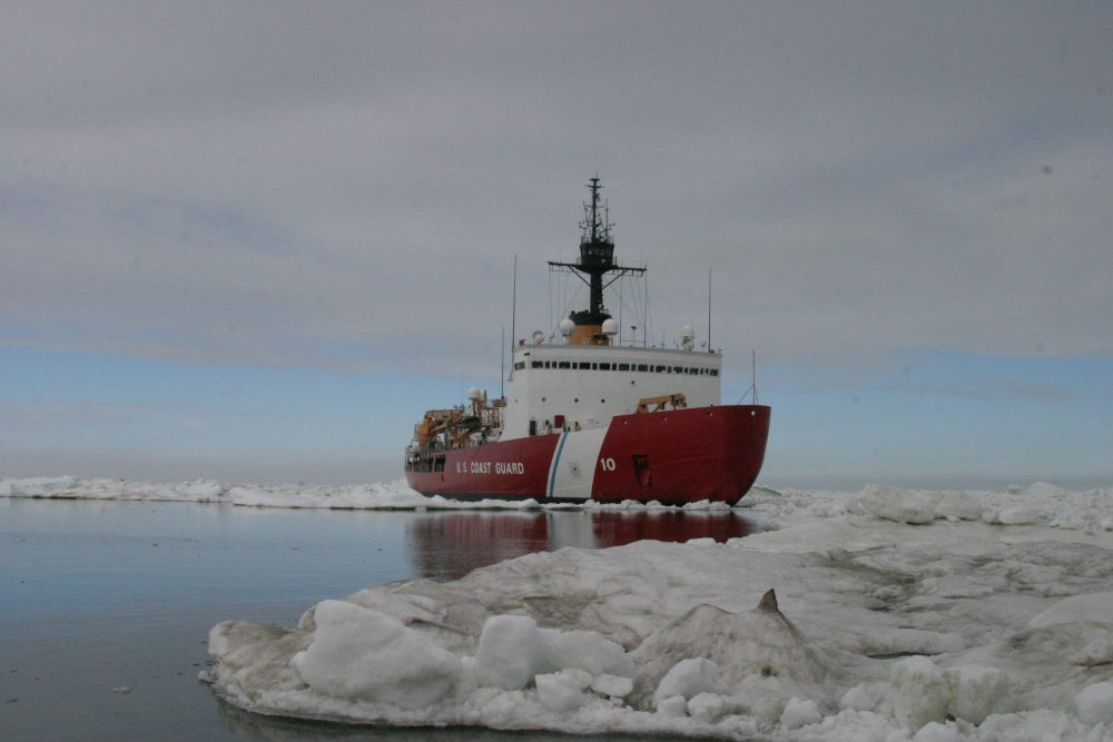 The U.S. Coast Guard Cutter Polar Star completes ice drills in the Arctic July 3, 2013. (Petty Officer 3rd Class Rachel French/U.S. Coast Guard)