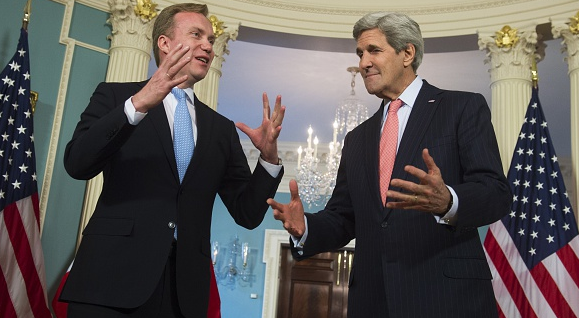 US Secretary of State John Kerry and Norwegian Foreign Minister Borge Brende speak to the press in Washington, DC, February 26, 2015. This week, Kerry is in Norway and will visit the Arctic archipelago of Svalbard. (Saul Loeb/AFP/Getty Images)