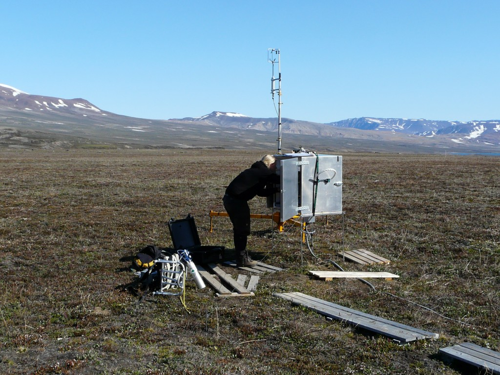 Measuring CO2 emissions from summer permafrost at Zackenberg, Greenland. GLobal emissions warm the Arctic, melting permafrost reinforces the global warming effect. (Irene Quaile/Deutsche Welle)