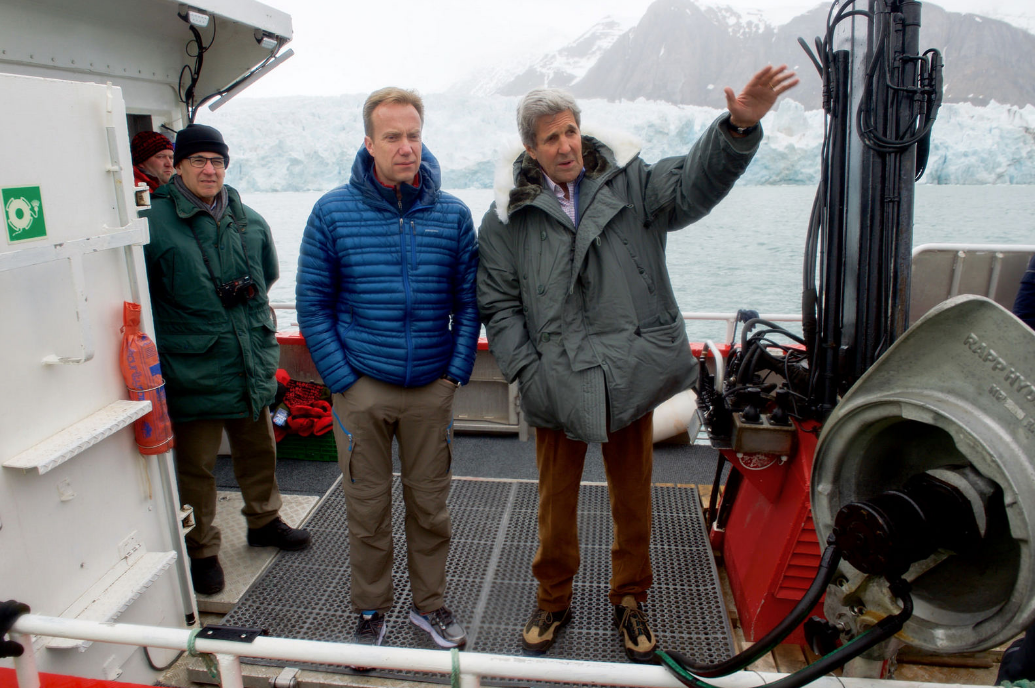 U.S. Secretary of State John Kerry with Norway's Minister of Foreign Affairs Borge Brende in the Arctic archipelago of Norway. Kerry travelled to the region this week to see the effects climate change was having on the Arctic. (U.S. Department of State)