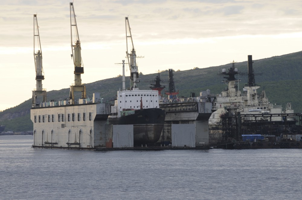 """Nuclear waste vessel """"Lepse"""" in floating dock at Atomflot in 2012. (Thomas Nilsen/The Independent Barents Observer)"""