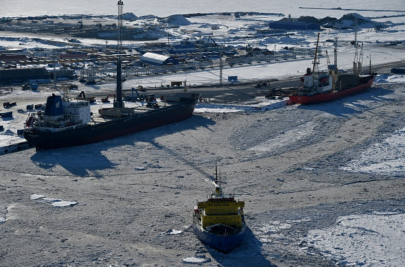 A picture taken on April 16, 2015 shows a general view of the port of Sabetta in the Kara Sea shore line on the Yamal Peninsula in the Arctic circle, some 2450 km from Moscow. The Yamal LNG project aims to extract and liquefy gas from the Yuzhno-Tambeyskoye gas field. (Kirill Kudryavtsev/AFP/Getty Images)