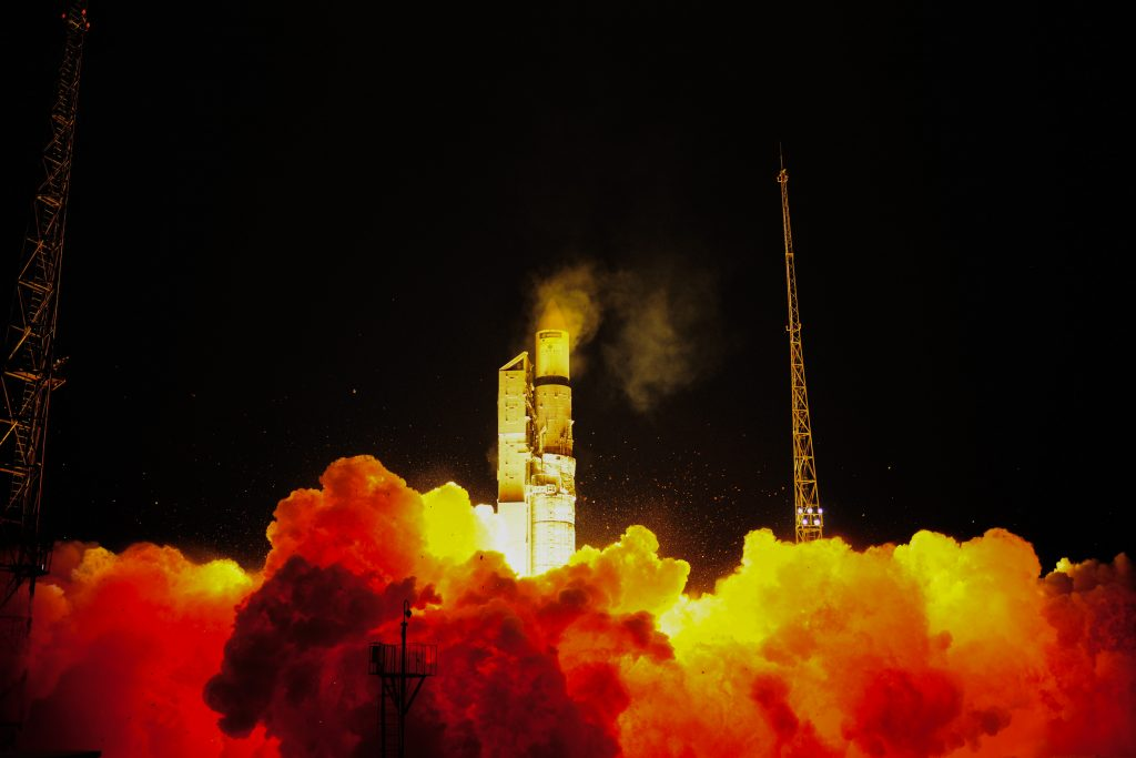 A Rokot launch vehicle lifts of the Sentinel-3A satellite from the Plesetsk cosmodrome in northern Russia on Feb. 16, 2016. (Stephane Corvaja/European Space Agency)