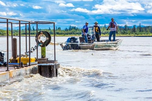 Alaska has 40% of U.S. river current energy. Hydrokinetic testing in Tanana River, Alaska. (T. Paris / UAF)