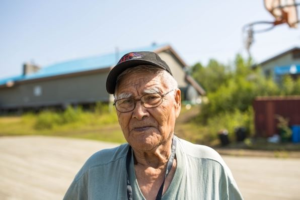 Raymond Dutchman, 91, the oldest resident of Shageluk, says he can't remember any stories of his relatives hunting bison, but he looks forward to being able to do that in a few years when the herd grows to a sustainable size. (Loren Holmes / Alaska Dispatch News)