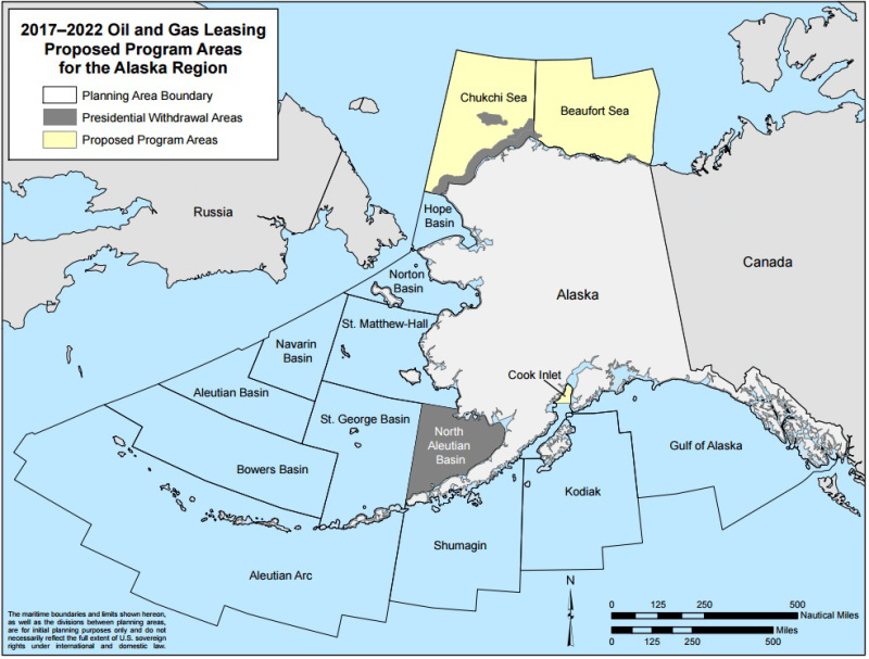 This map shows the Bureau of Ocean Energy Management's outer continental shelf oil and gas leasing areas, with the Chukchi and Beaufort seas highlighted. Credit: Bureau of Ocean Energy Management