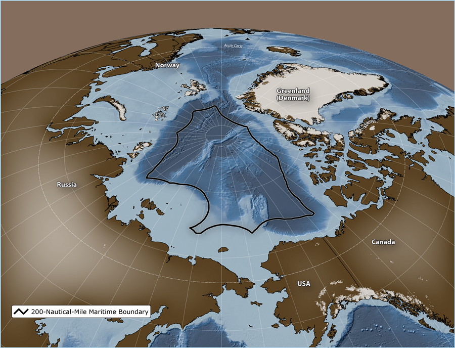 "The black line indicates the extent of the 200 nautical mile exclusive economic zone (EEZ) boundary of Arctic nations. These vast areas in the central Arctic Ocean are currently ""unregulated"" as far as a potential commercial fishery is concerned. (Oceans North-Pew Charitable Trusts)"