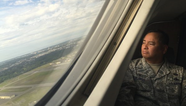 Colonel Frank Flores is Commander for the PACAF Regional Support Center based at JBER. As part of his work he visits the Air Force's remote radar sites, and has been to 17 of the 21 so far, including a recent visit to Cape Romanzof. (Zachariah Hughes/Alaska Public Media-Anchorage)