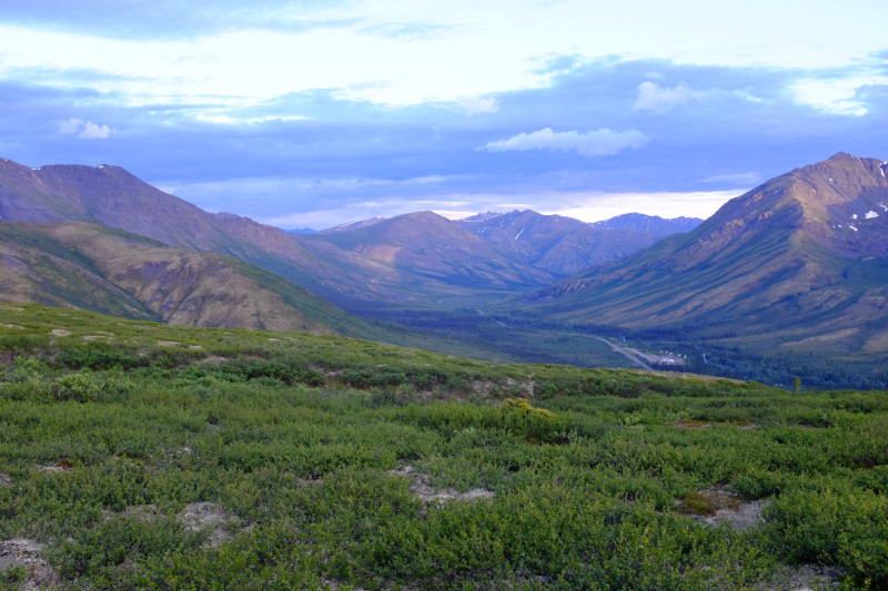 The highway as it stretches through Tombstone Territorial Park, viewed from Goldensides. (Mia Bennett)