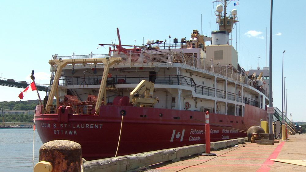 CCGS Louis S. St-Laurent will carry crew and researchers to Norway before travelling on to the North Pole. (CBC)