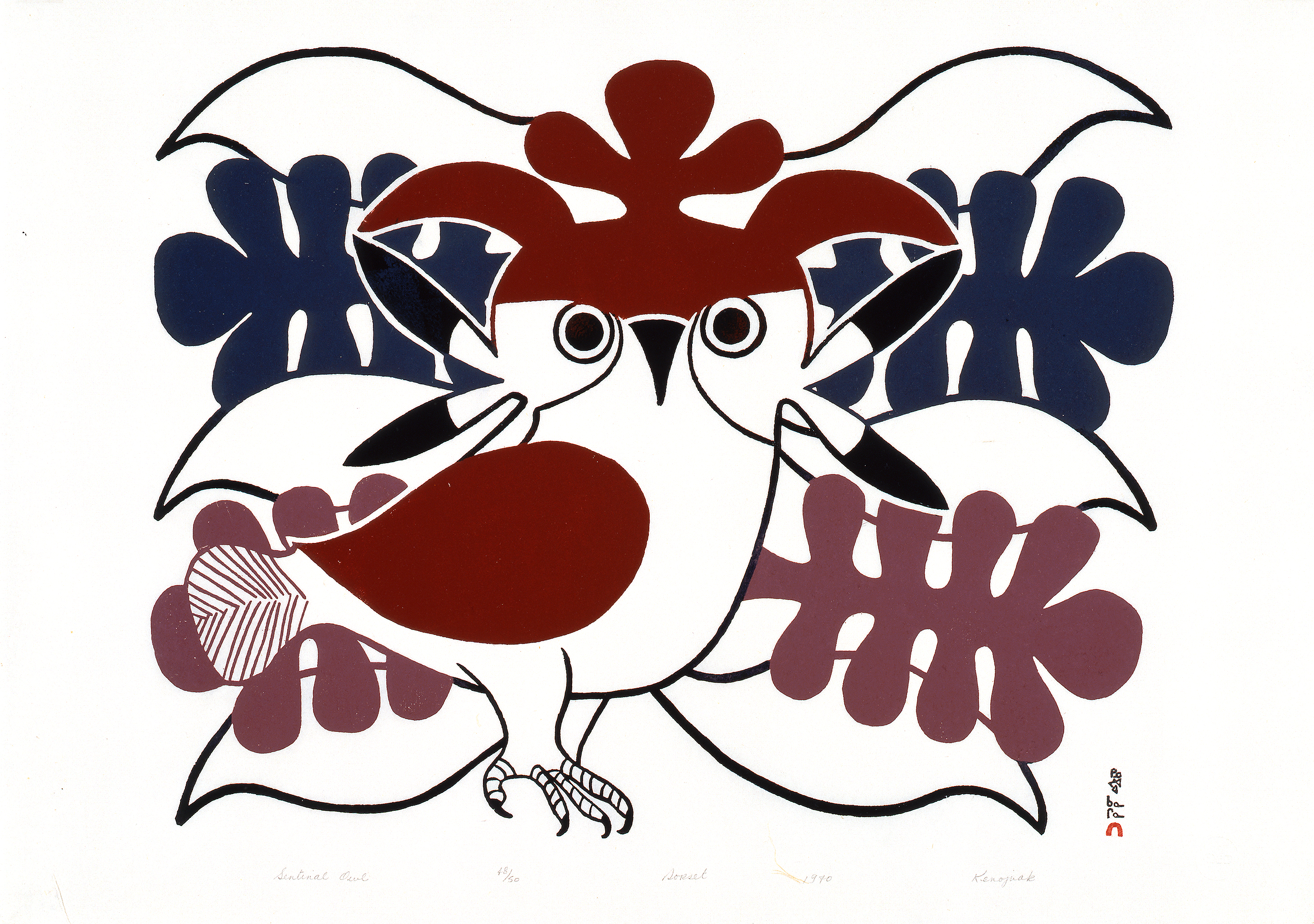 Artist: Kenojuak Ashevak, Cape Dorset Printmaker: Kananginak Pootoogook Sentinal Owl, c.1970 Stonecut on paper, 48/50 60.4 x 85.7cm Collection of the Winnipeg Art Gallery Gift of the Women's Committee