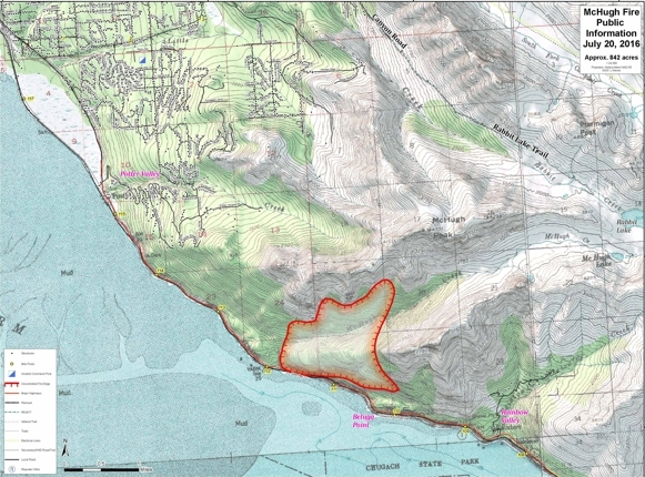 This map shows the McHugh Creek wildfire burn area estimated at approximately 842 acres on Wednesday afternoon, July 20, 2016.