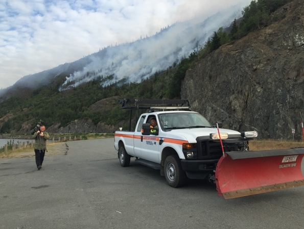 The McHugh Creek fire continues to burn near the Seward Highway on Wednesday. (Erik Hill / Alaska Dispatch News)