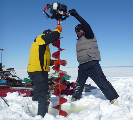 Measurements were taken both at the top and bottom of shallow Arctic lakes, many measuring only around one metre deep. (Courtesy Chris Arp)