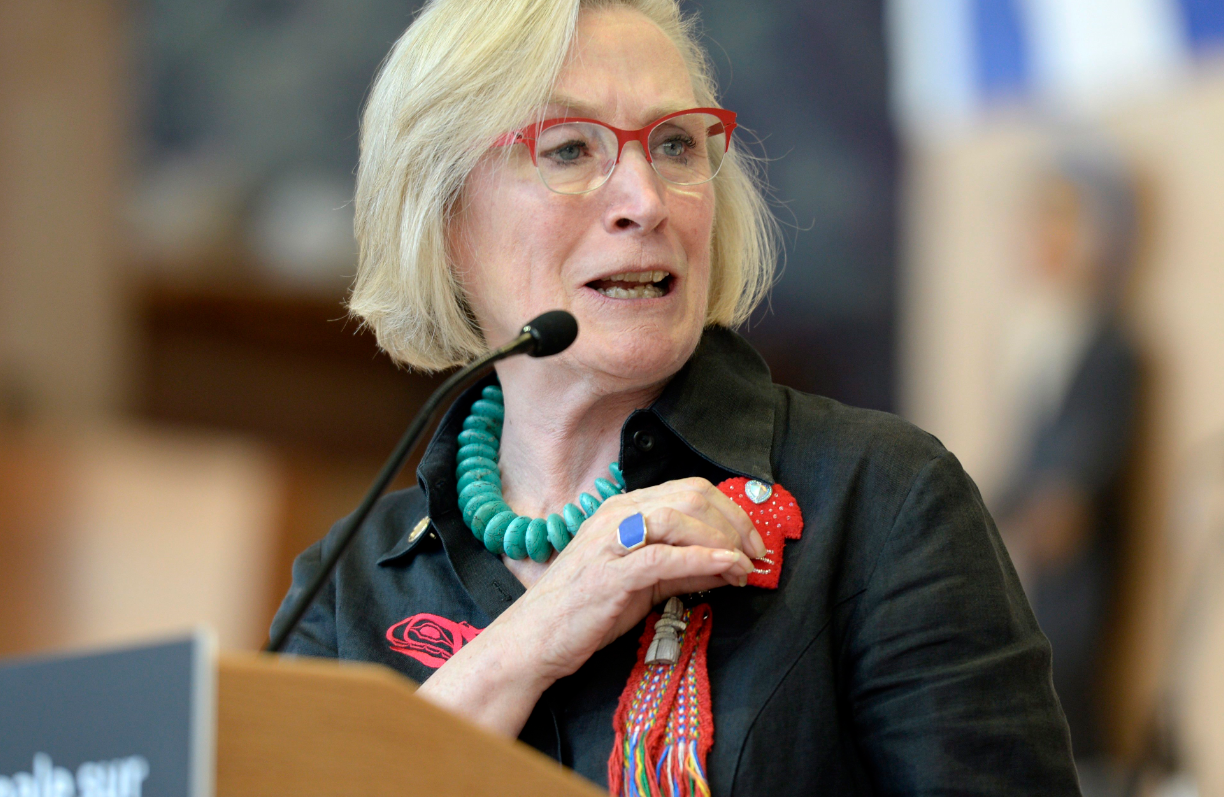 Canada's Indigenous Affairs Minister Carolyn Bennett unveiled details about the inquiry into Murdered and Missing Indigenous Women at a news conference in Gatineau, Quebec on Wednesday. (Justin Tang/The Canadian Press)