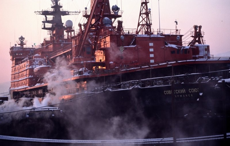 "Russia's nuclear powered icebreaker ""Sovyetskiy Soyuz"" at port in Murmansk. (Thomas Nilsen/The Independent Barents Observer)"