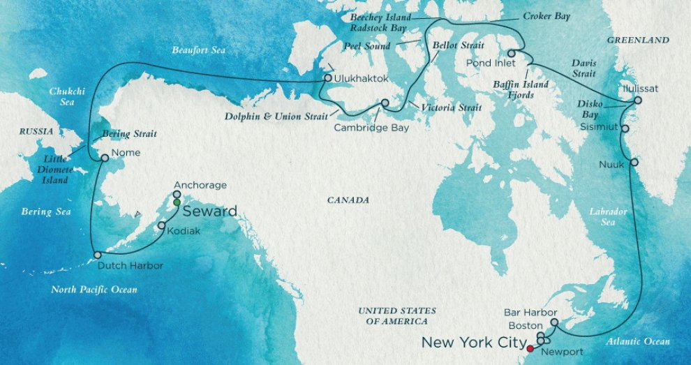 The route plan for the 32-day Crystal Cruises Northwest Passage trip from Alaska to New York City. The trip began Aug. 16 at the Port of Seward. The itinerary includes several expedition days, when conditions permit, during which passengers may disembark to explore remote locales and indigenous villages. (Crystal Cruises)