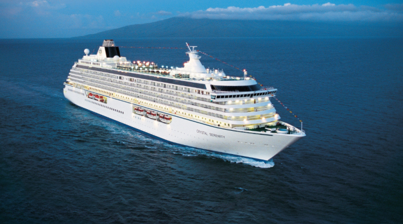 With passengers and crew, there will be over 1,500 people aboard the huge 13-deck Crystal Serenity as it travels across the Arctic this month. (Crystal Cruises)
