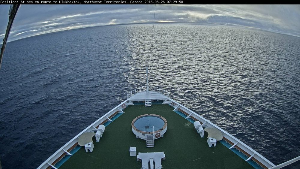 Actual view from the bridge of the ship this morning. The ship is now about halfway across the top of Canada. (Crystal Cruises)