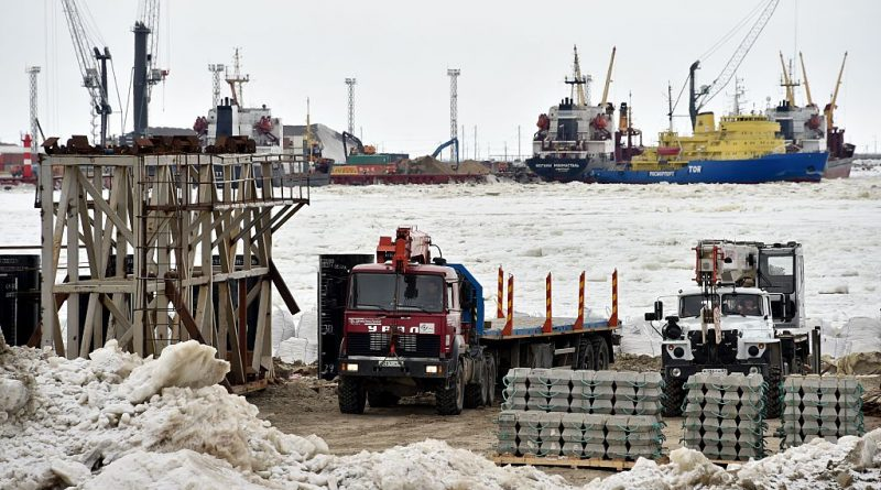 A picture taken on May 5, 2016 shows the construction site of the port of Sabetta in the Kara Sea shore line on the Yamal Peninsula in the Arctic circle. Yamal LNG -- which is set to be launched in 2017 -- is a liquefied natural gas plant with a planned capacity of 16.5 million tonnes per year and is valued at $27 billion.       (KIRILL KUDRYAVTSEV/AFP/Getty Images)