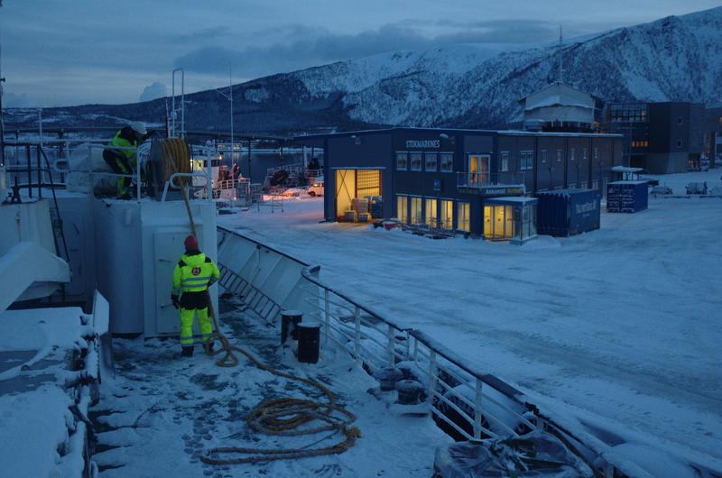 A Hurtigruten ship: essentially a working vessel that carries tourists. (Mia Bennett)