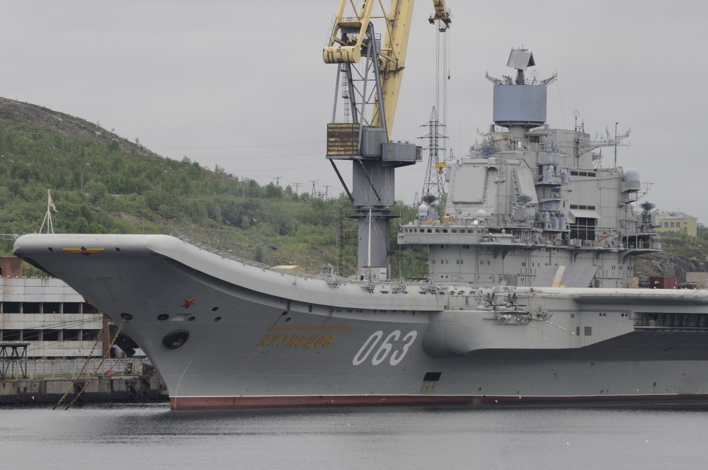 """""""Admiral Kuznetsov"""" is the Navy's only aircraft carrier. Here at port at Naval yard No. 35 in Murmansk. (Thomas Nilsen/The Independent Barents Observer)"""