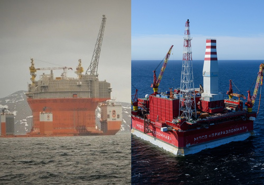 The two oil-producing platforms in Arctic waters.