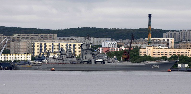 """Heavy missile cruiser """"Pyotr Velikiy"""" is Russia's only nuclear-powered surface vessel, pictured above at port in Severomorsk, Russia. (Thomas Nilsen/The Independent Barents Observer)"""