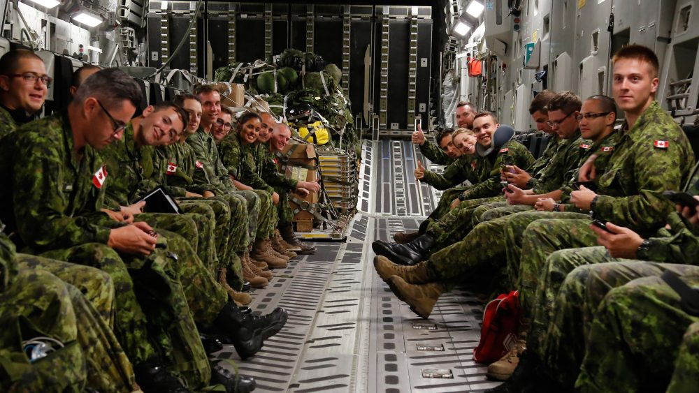 Canadian Armed Forces members await take-off onboard a CC-177 Globemaster en route to Whitehorse, Yukon as part of Op NANOOK on August 15, 2016. (Cpl. Chase Miller / Canadian Forces Support Unit, Imaging Services.)