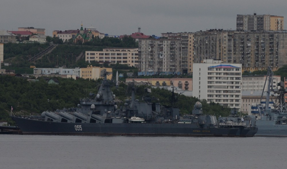 """""""Marshal Ustinov"""" is a Slava-class cruiser sailing for the Northern Fleet. Here at port in Severomorsk. (Thomas Nilsen/The Independent Barents Observer)"""