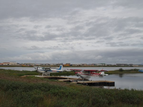 The view of Kotzebue from the newly renamed Qipqiña Hanger. (Zachariah Hughes/ Alaska Public Media – Kotzebue)
