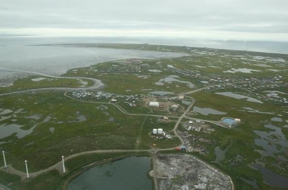 The Southwestern Alaska village of Hooper Bay is seen from the air on Thursday, Aug. 11, 2016. (Lisa Demer / Alaska Dispatch News)