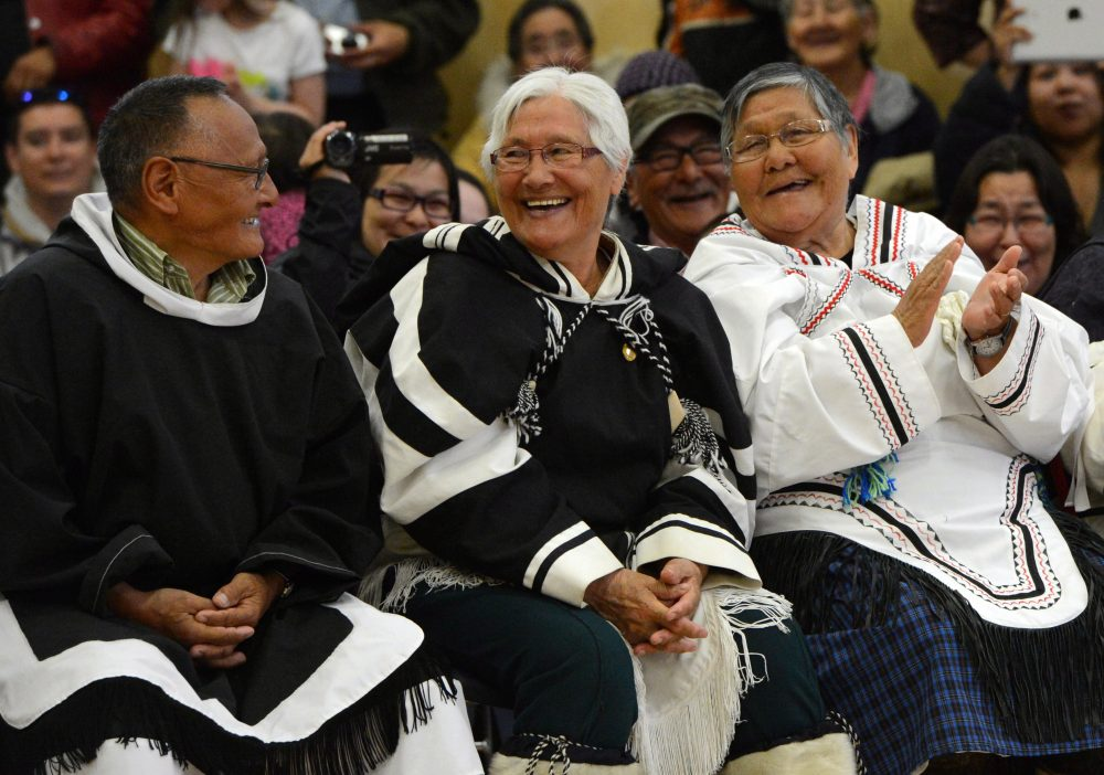 Community elders share a laugh as they attend a community event with Prime Minister Stephen Harper in Gjoa Haven, Nunavut on Wednesday, August 21, 2013. (Sean Kilpatrick / THE CANADIAN PRESS)