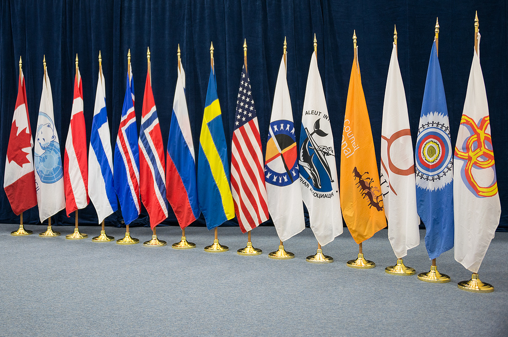 The flags of the Arctic Council Member States and Permanent Participants (Indigenous peoples' organizations). (Linnea Nordström/Arctic Council Secretariat)