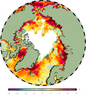 Water surface temperatures on September 8, 2016. Graphics by Jacob Høyer, DMI.