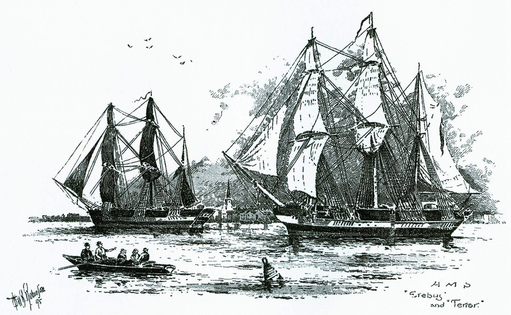 HMS Erebus and HMS Terror, the two ships lost in the doomed Franklin Expedition. A shipwrec believed to be the Terror was found last week in Nunavut's Terror Bay, an uncharted bay off King William Island.