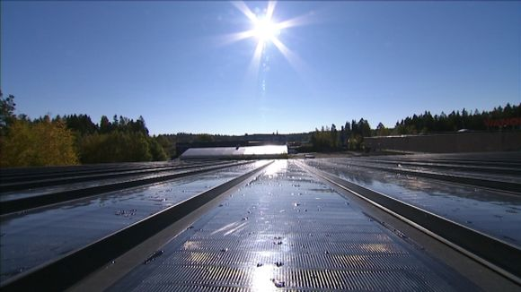 A phtovoltaic film has been integrated into the firms roof sheeting. (Samuli Holopainen / Yle)