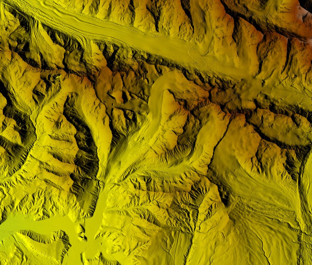 The Gulkana Glacier and river valley region is one of three long-term U.S. Geological Survey glacial monitoring sites. These new digital elevation model images will help anticipate future landscape-level changes, due to, for instance, erosion, extreme events, or climate change. (NGA)