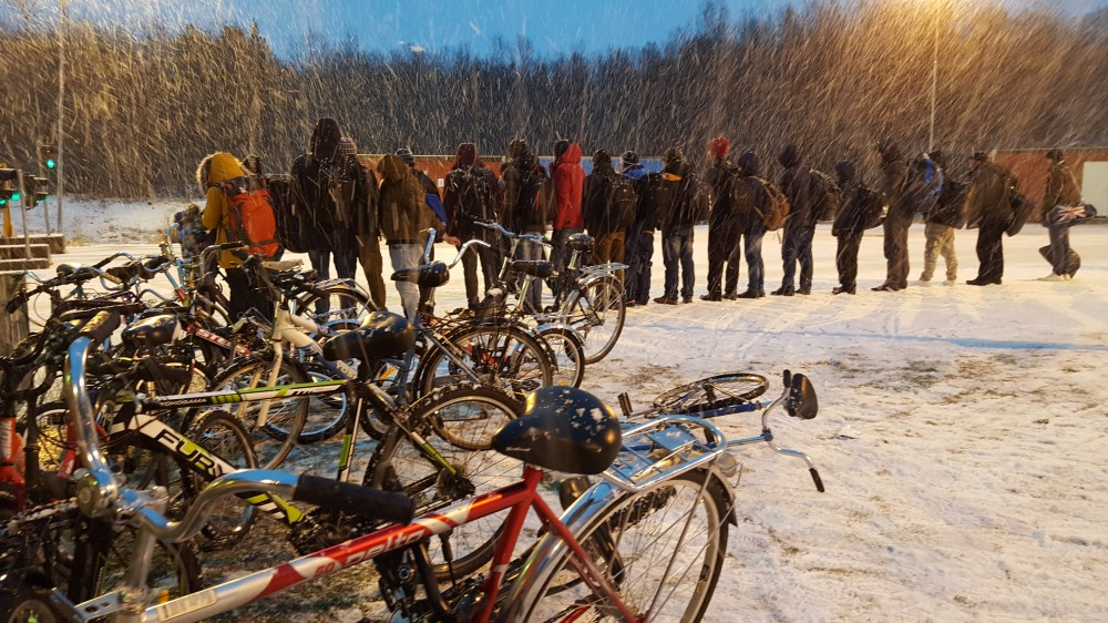 Last winter, some 5,500 asylum seekers came biking across the border from Russia. (Thomas Nilsen/The Independent Barents Observer)